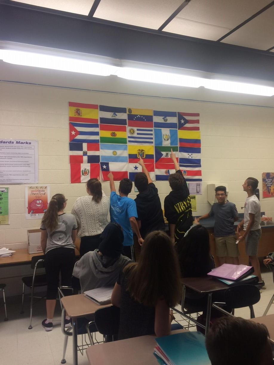 Period 1 students reviewing flags from Spanish-speaking countries.