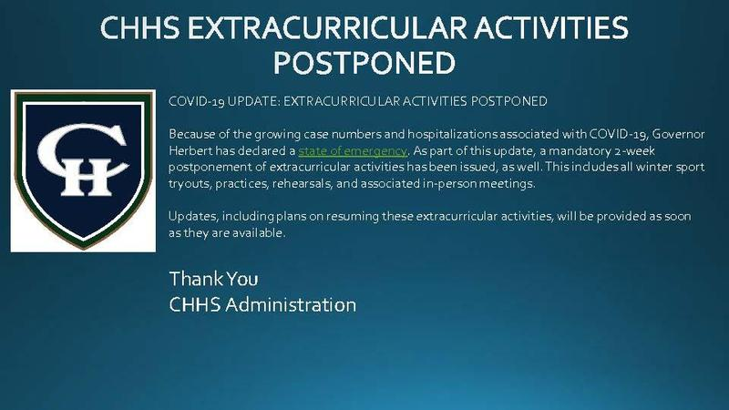 COVID-19 UPDATE: EXTRACURRICULAR ACTIVITIES POSTPONED