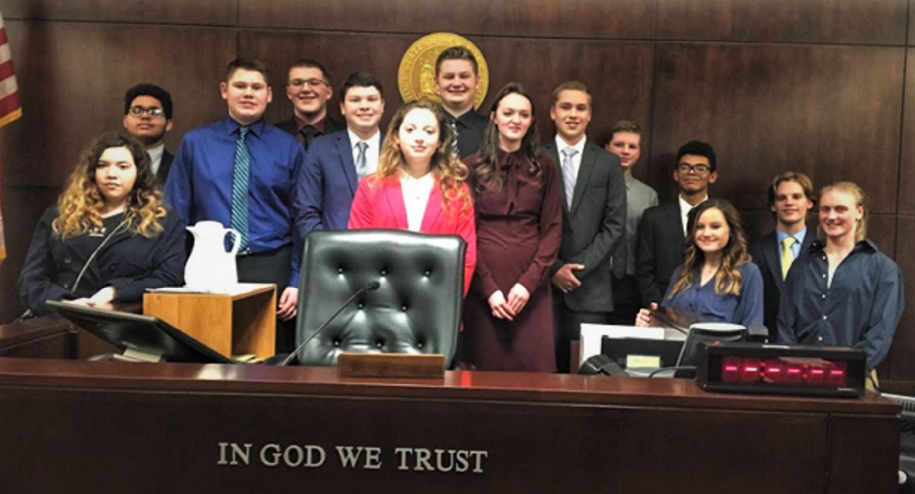 Mock Trial team in courthouse
