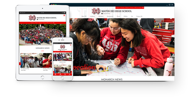 Mater Dei's website on different screens