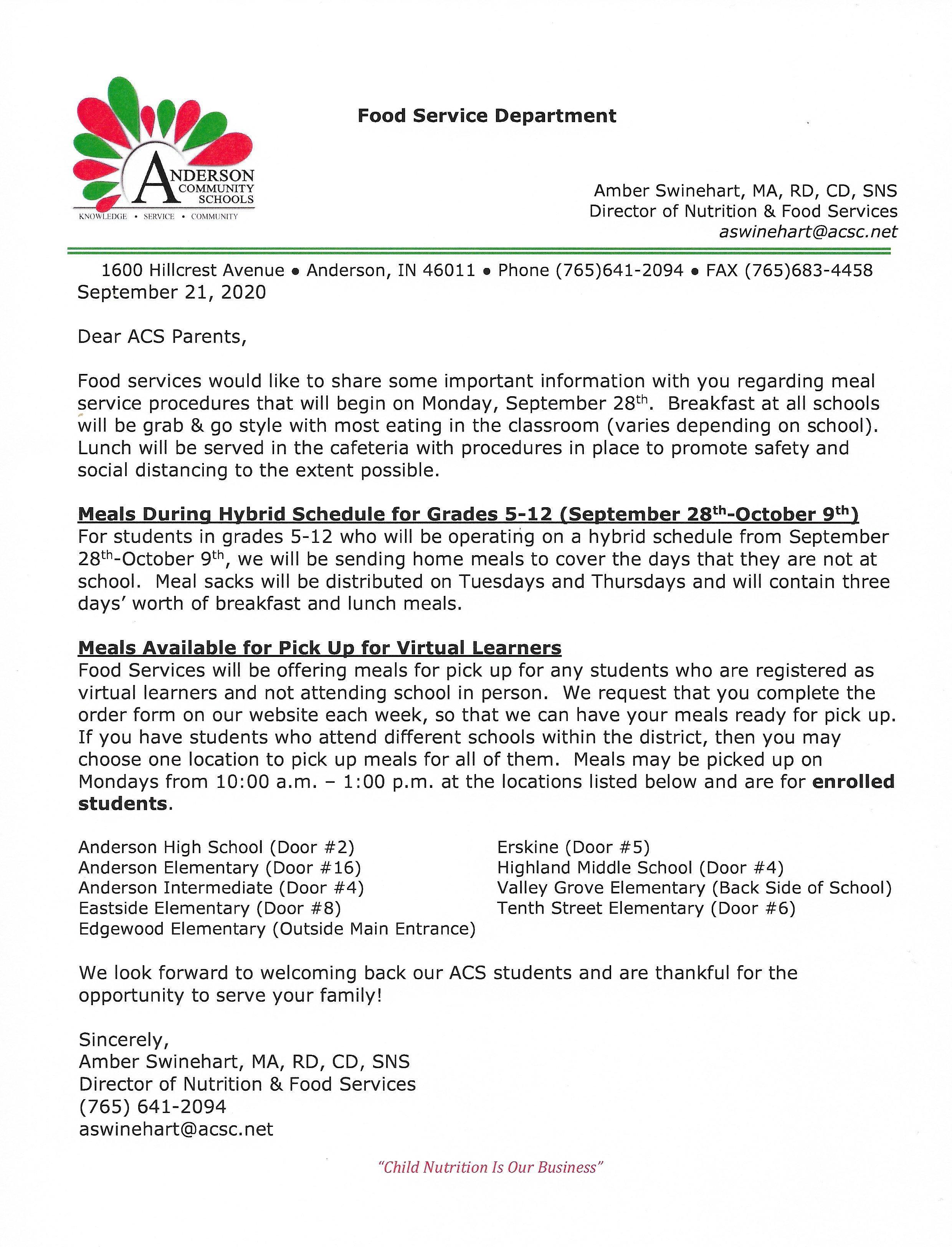 Food Services Letter