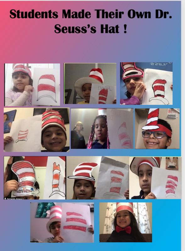Students holding up hat drawings