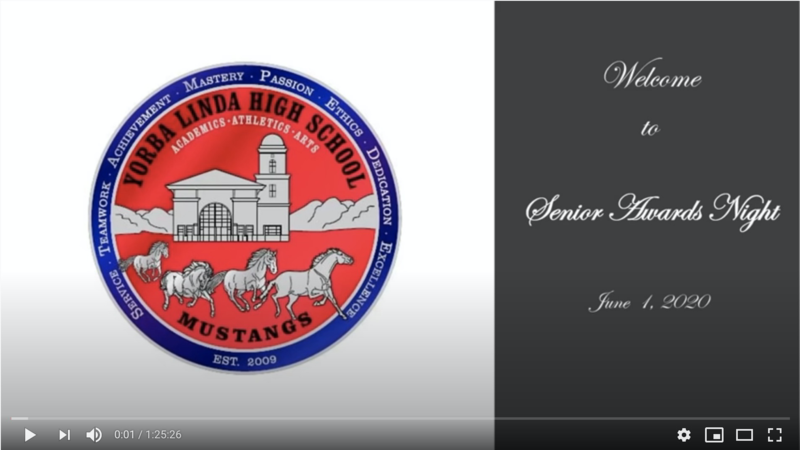 Senior awards video screen