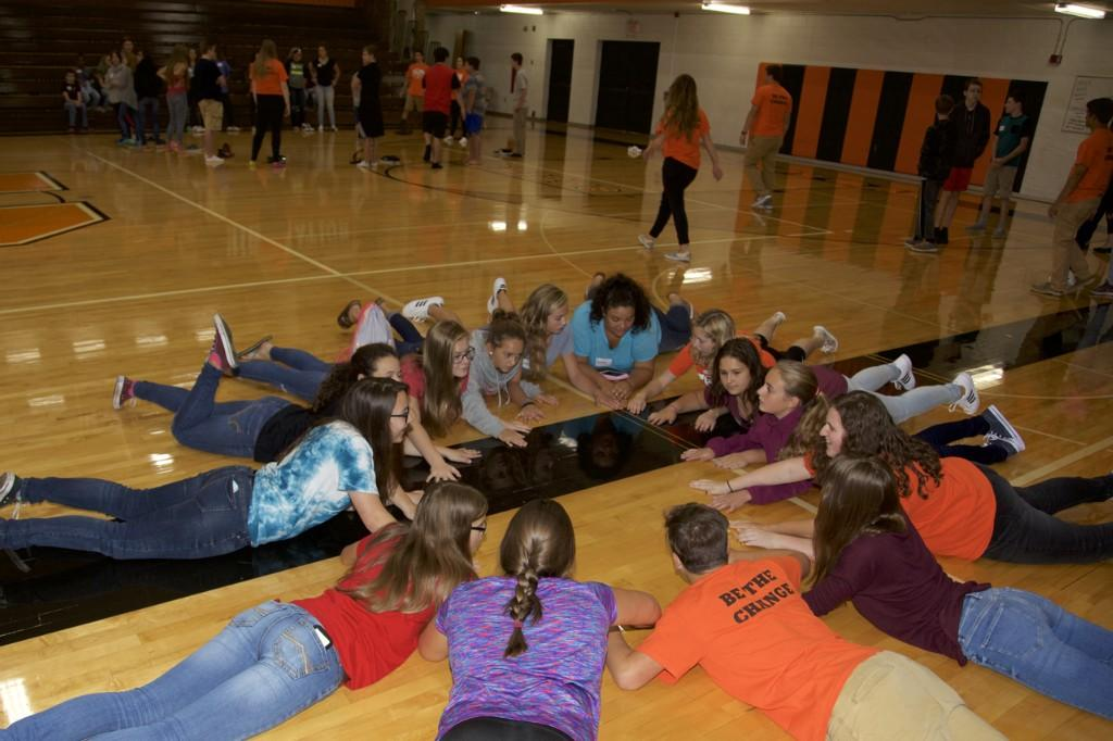 students on the floor
