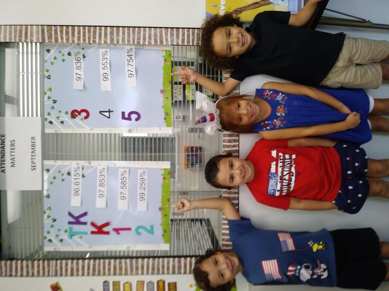 students standing next to attendance chart