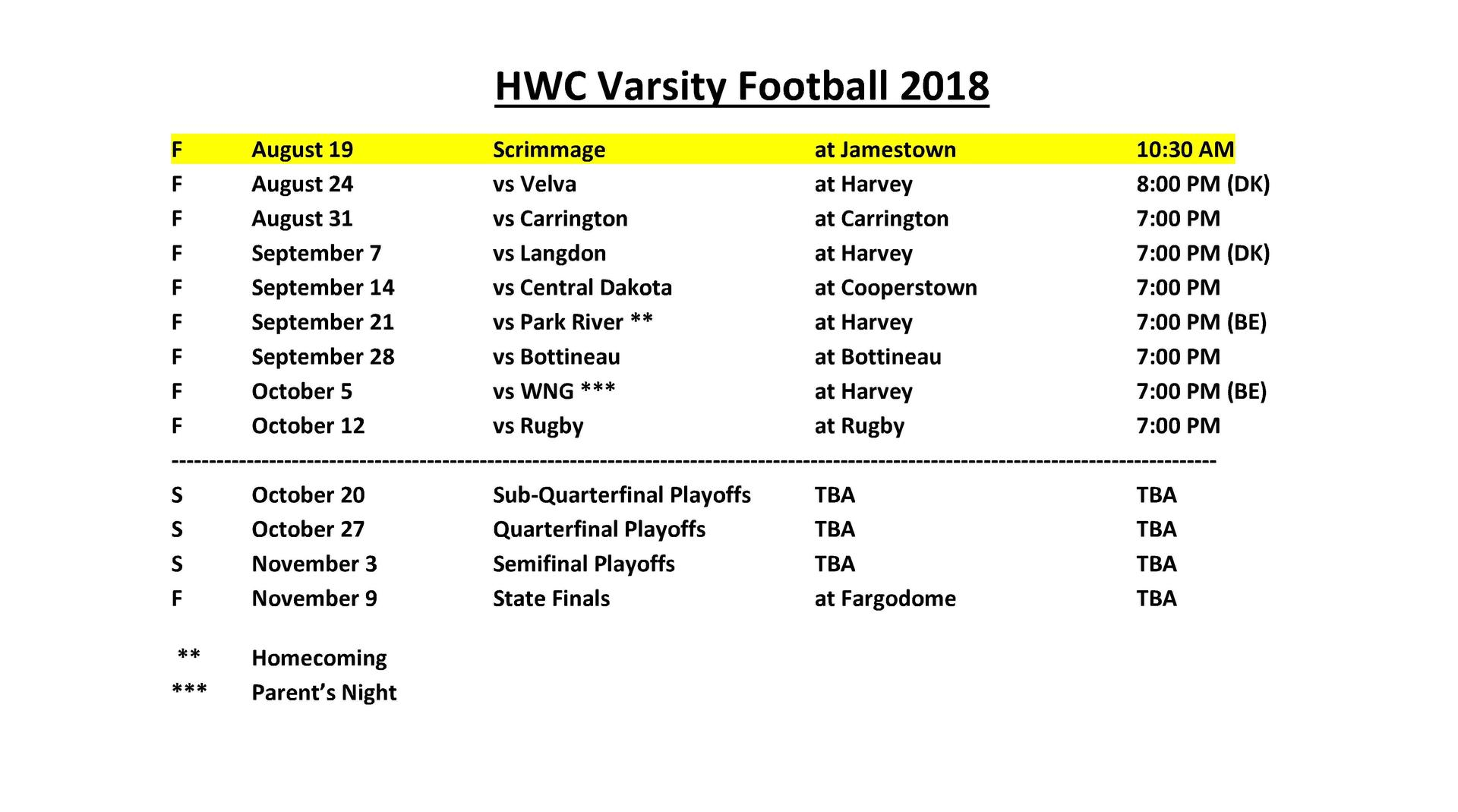 2018 Football Schedule