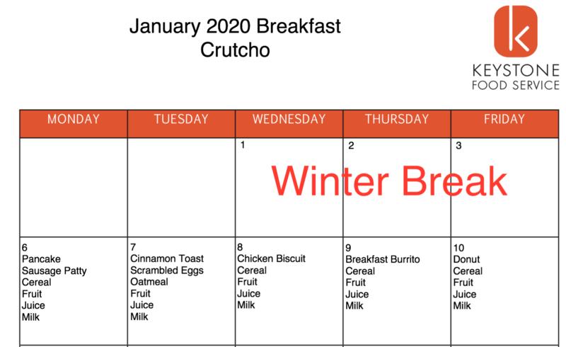 January Breakfast & Lunch Menus Featured Photo