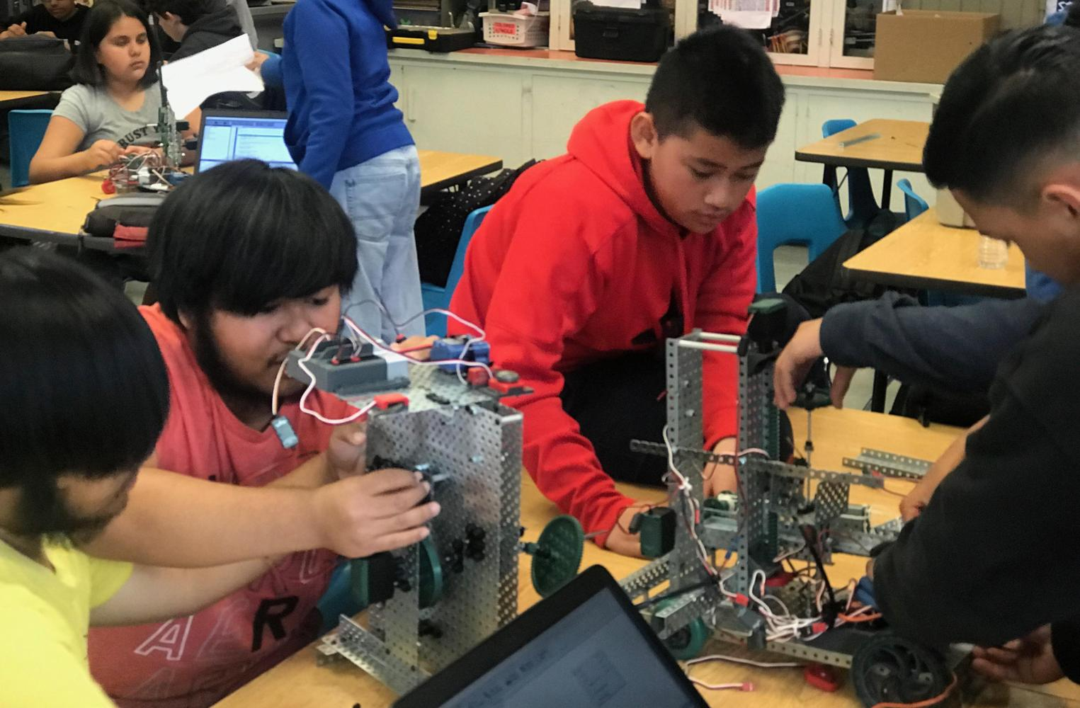 students at robotics class