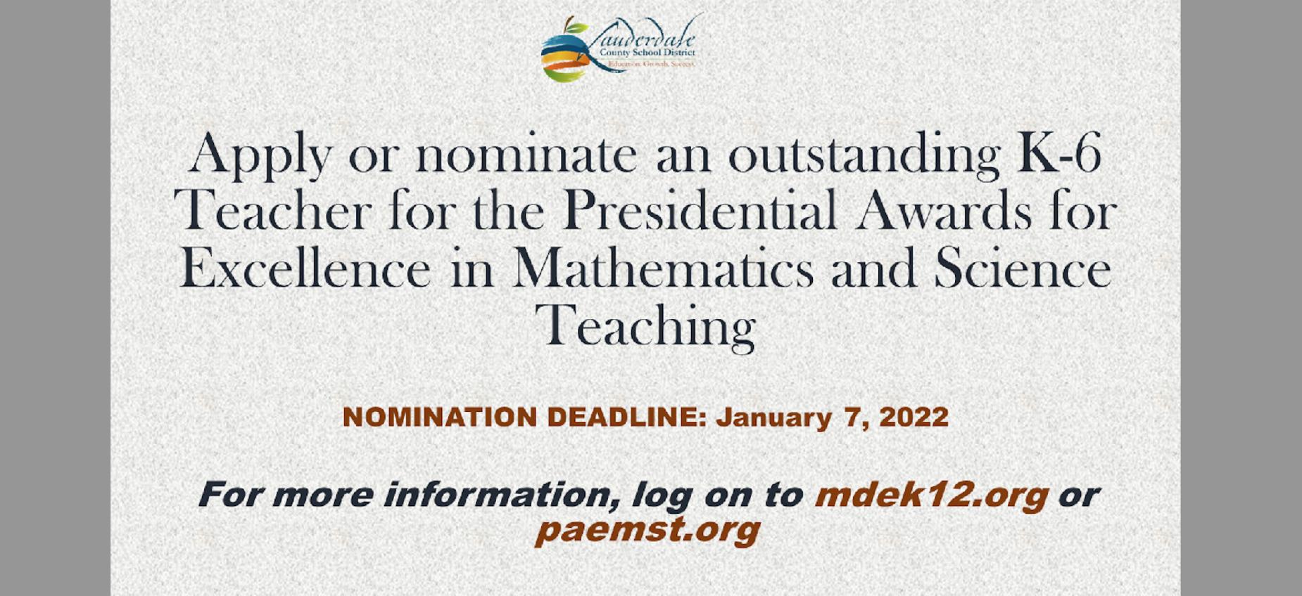 K-6 Math & Science Teacher Award Application/Nomination Link