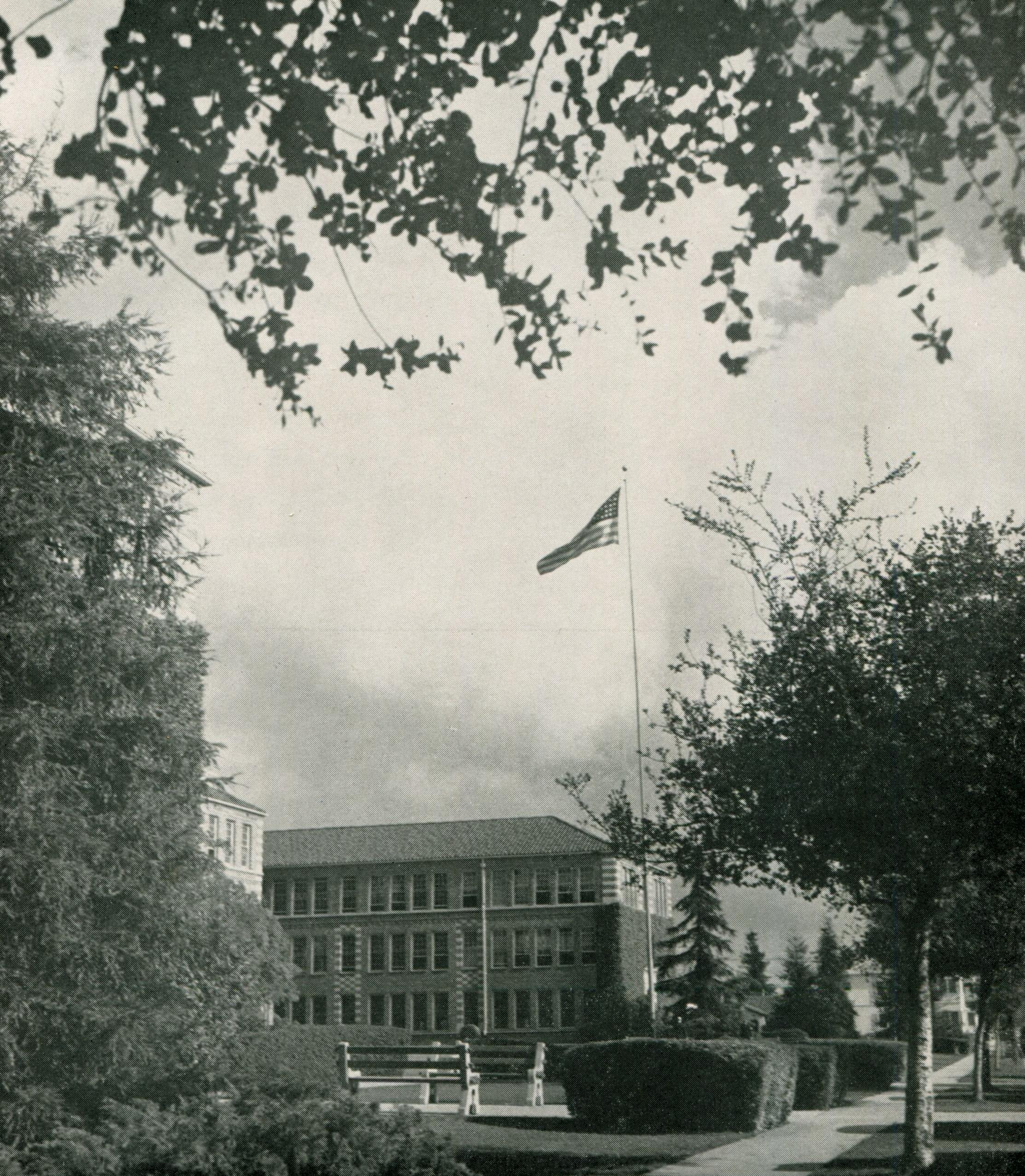 a view from the front and the 100 building, 1947