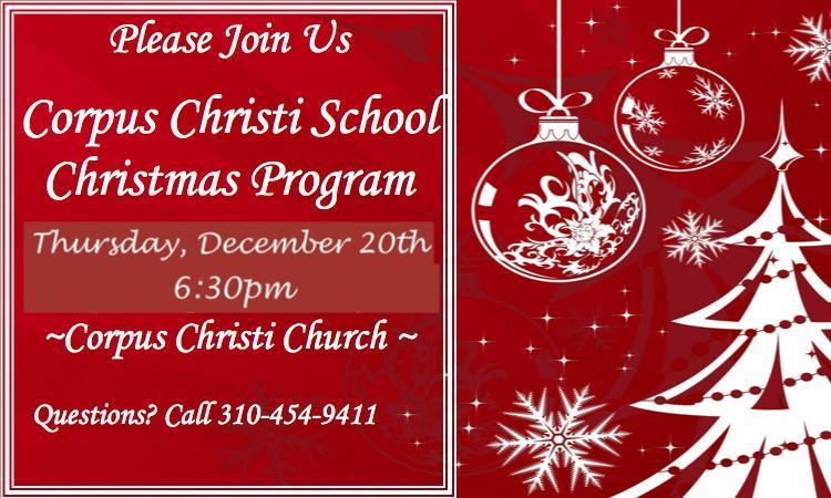 Corpus Christi School Christmas Program Featured Photo