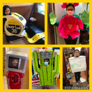 5 students wearing costumes collage