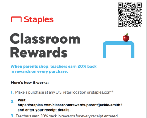 QR code for Staples Classroom Rewards