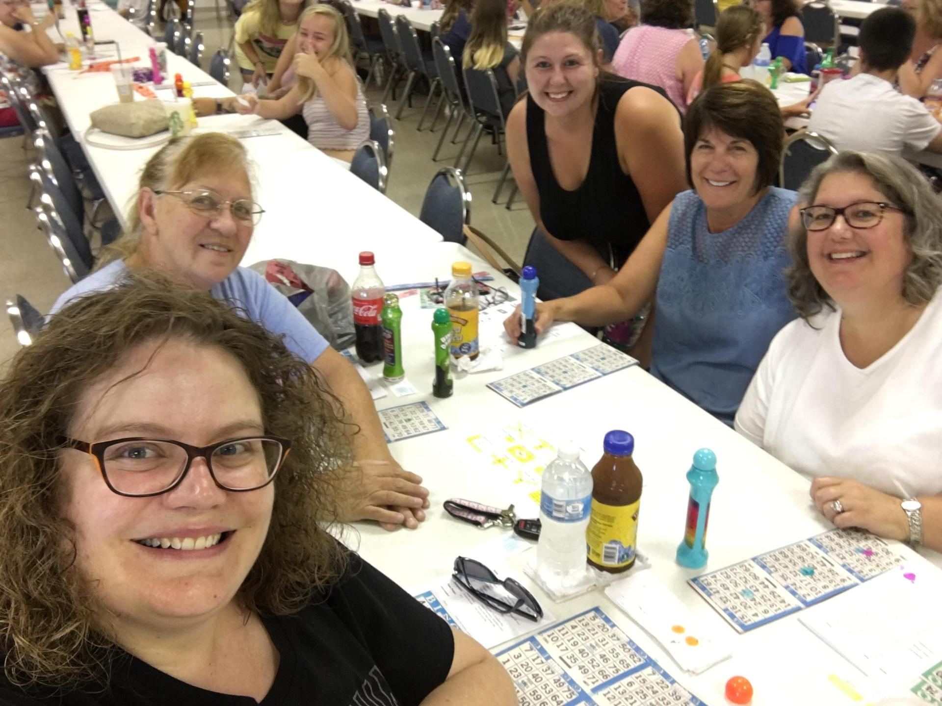 BINGO with Mrs. Clever, Mrs. Rauhauser, and Ms Gibson. Summer 2019