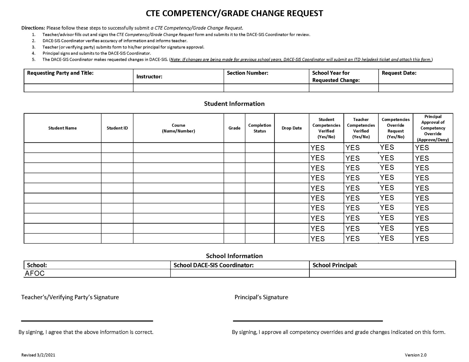 CTE Competency/Grade Change Request Form thumbnail