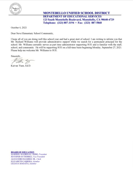 SUE Parent Community Letter