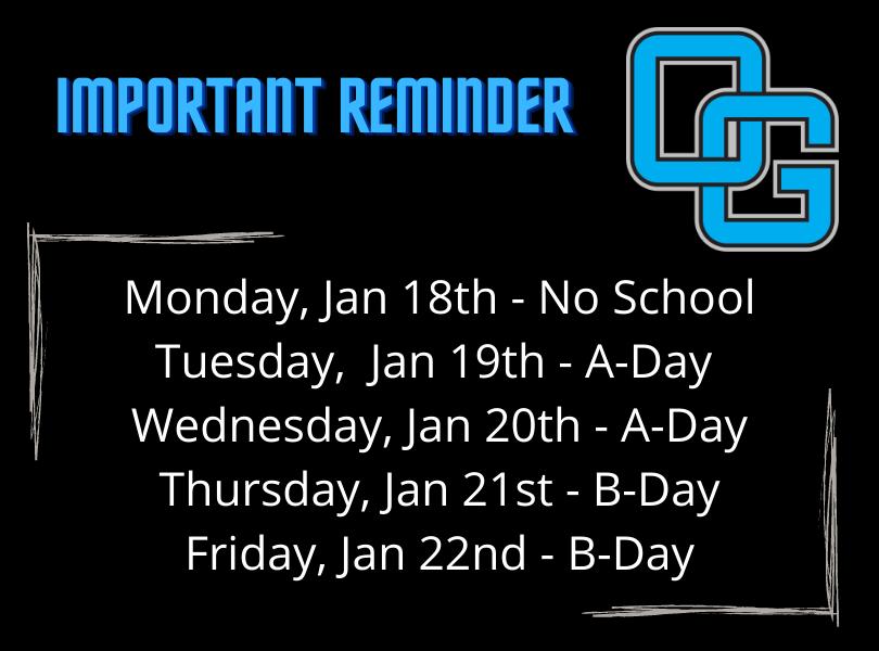 Jan 18th-22nd Schedule