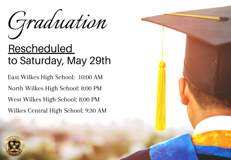 Graduation Rescheduled to Saturday, May 29th