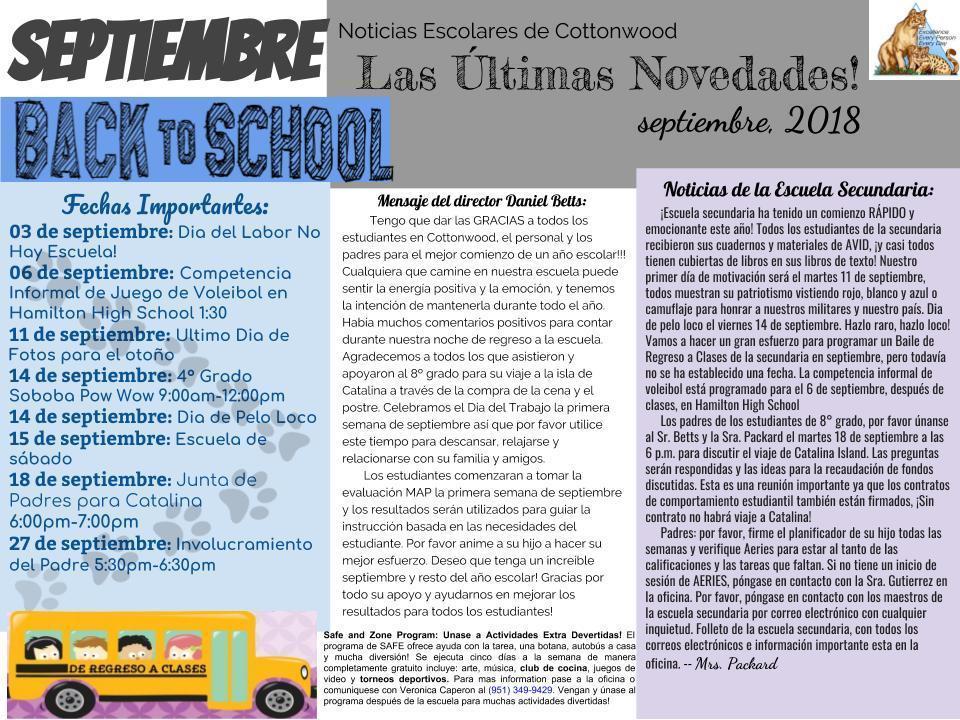September newsletter Spanish