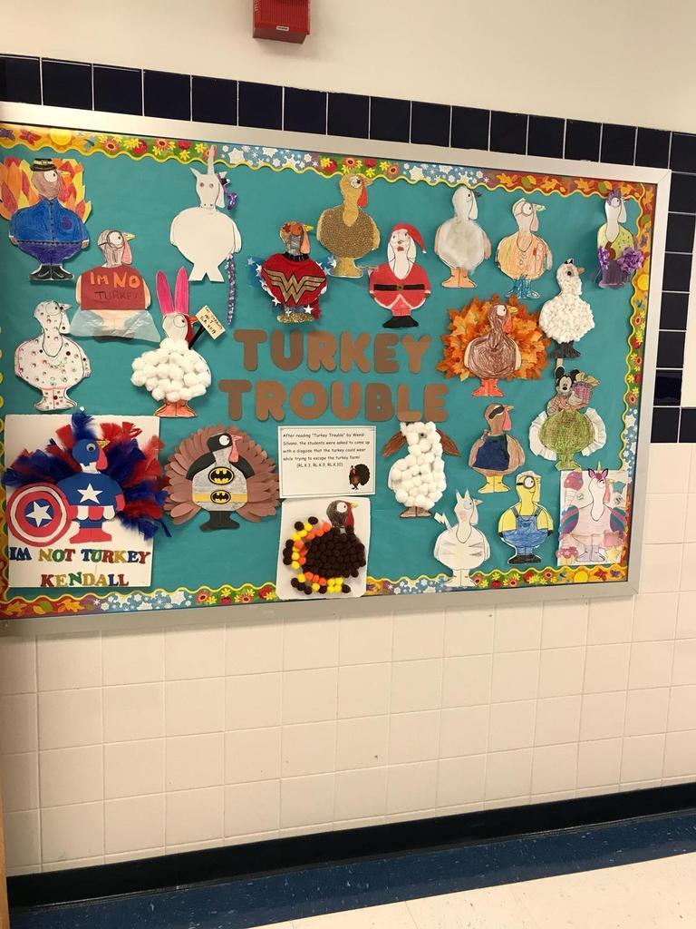 turkey trouble bulletin board of turkeys wearing costumes