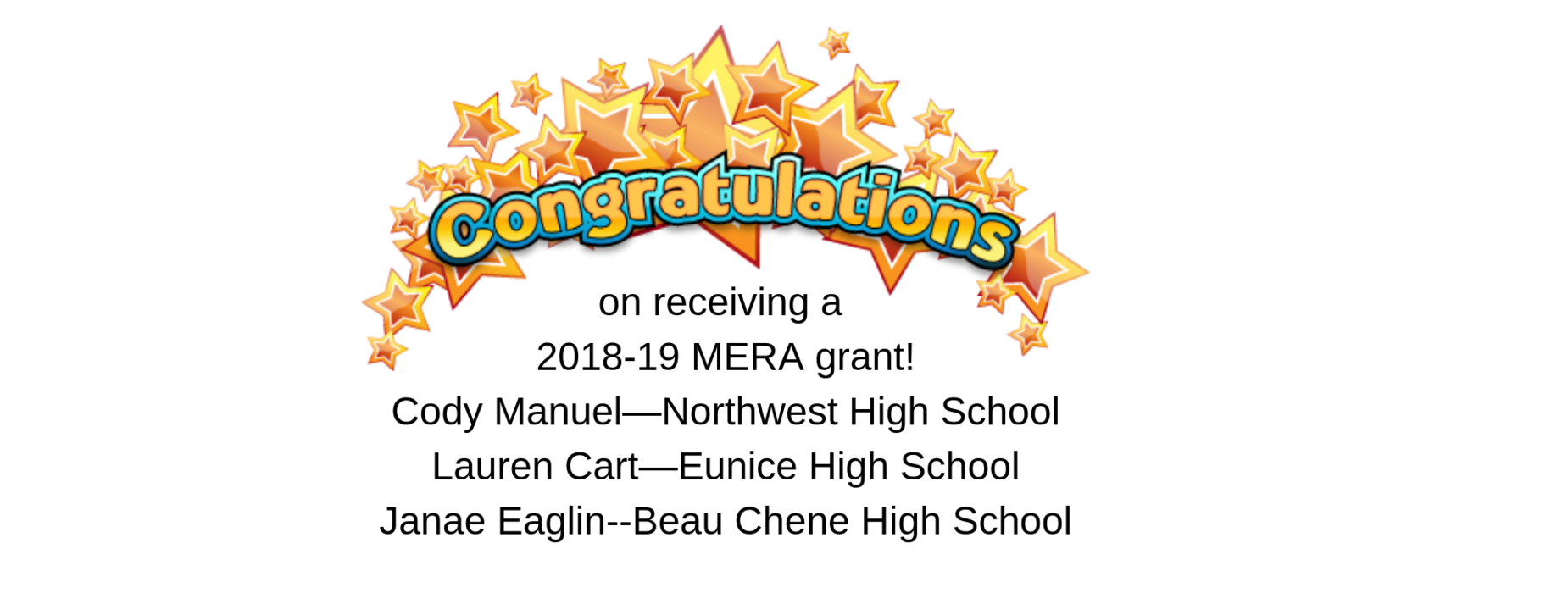 on receiving a   2018-19 MERA grant!  Cody Manuel—Northwest High School  Lauren Cart—Eunice High School  Janae Eaglin--Beau Chene High School