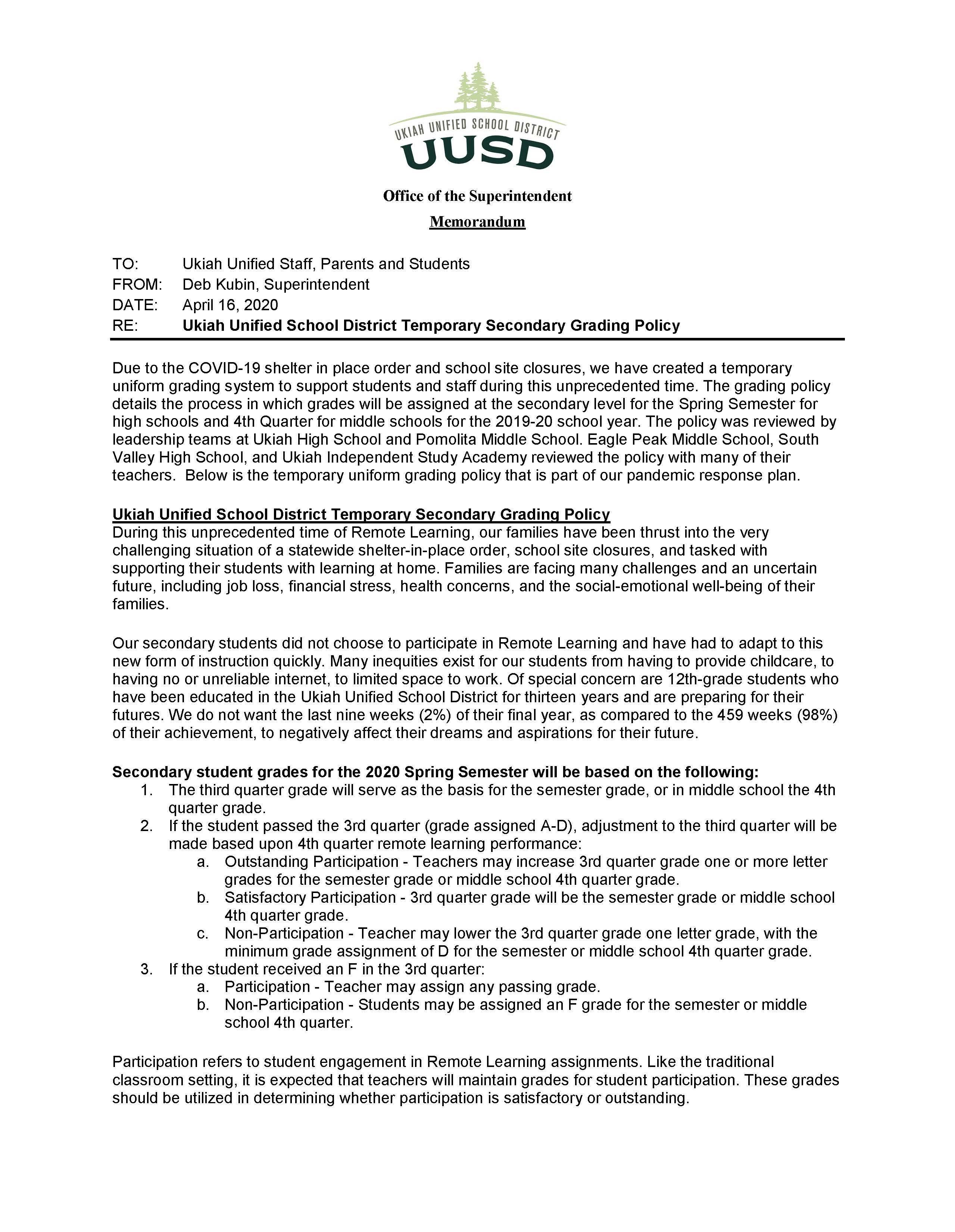 Temporary Grading Policy