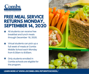 All students, in-person and virtual, will receive free breakfast and lunch meal service starting Monday, September 14. Featured Photo
