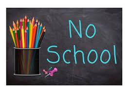 image of colored pencils and the words no school