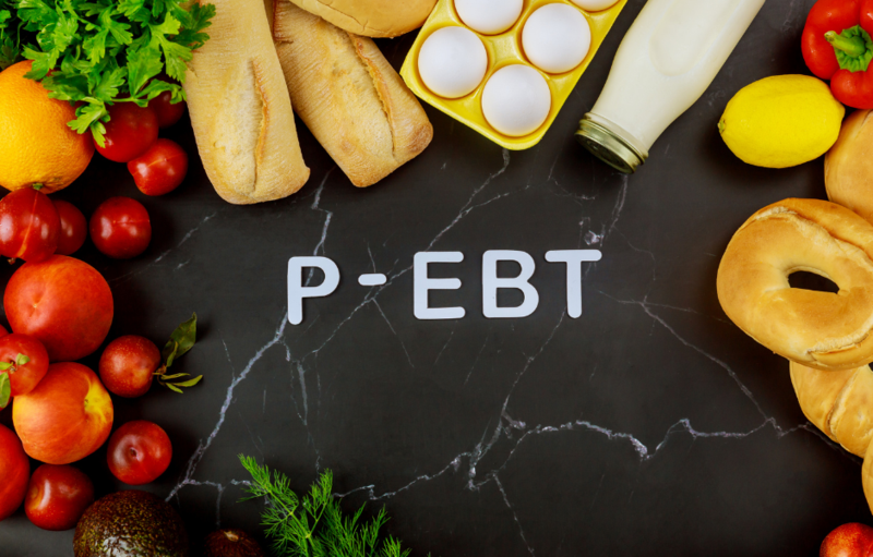 Letter P-EBT surround by various fruits and vegetables.