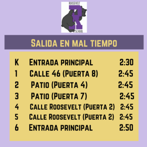 Dismissal times for inclement weather in Spanish
