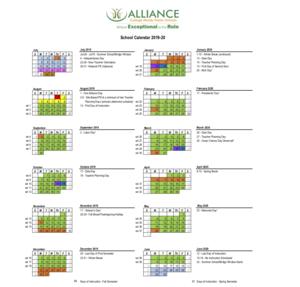 2019-2020 Alliance school Calendar