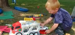 Southview student playing outside, boy