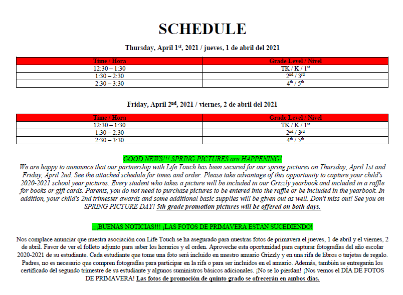 pic day schedule