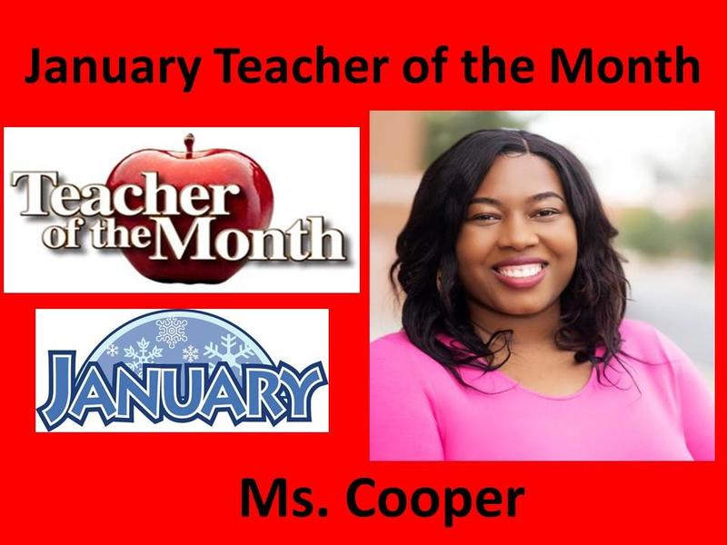 Ms. Cooper Selected January Teacher of the Month Featured Photo