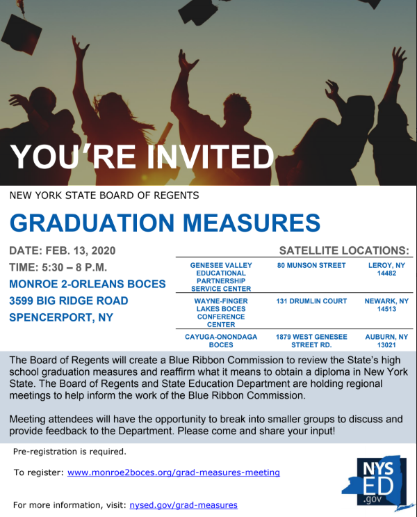 Image of the invitation to NYSED Graduation Measures Guidelines. Visit http://www.nysed.gov/grad-measures/regional-meetings for detailed information.