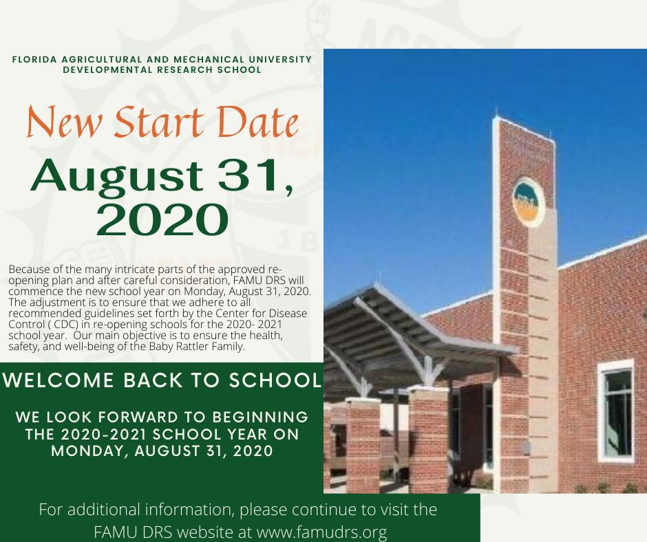 August 31, 2020 Start Date Flyer
