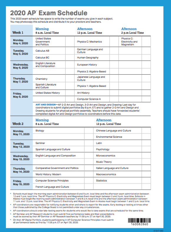 ap testing schedule 2020