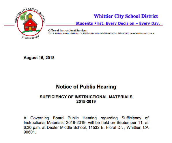 Notice of public hearing screenshot
