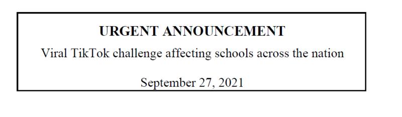 Urgent Announcement September 27, 2021