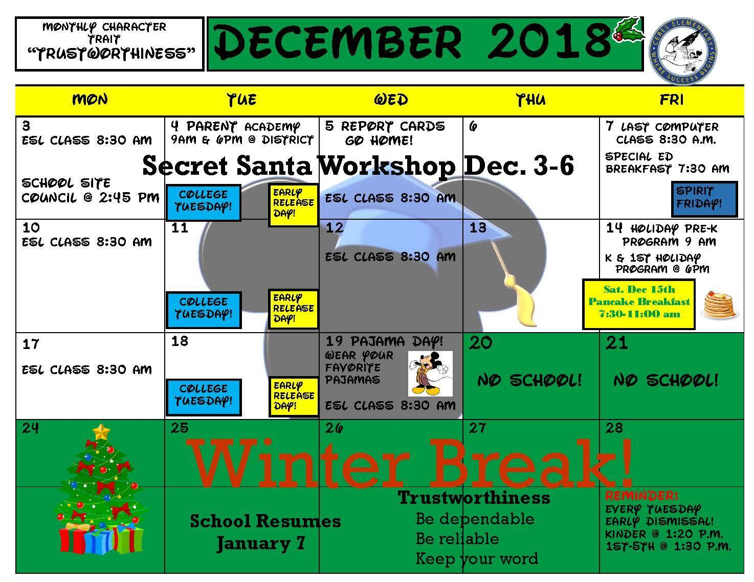 December Calendar 2018-2019