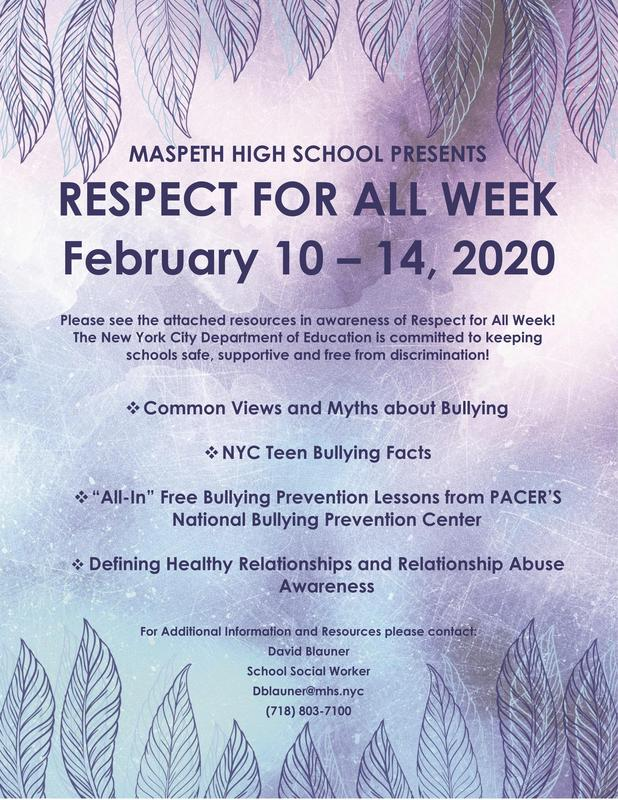 Maspeth High School Celebrates 'Respect For All' Week Featured Photo