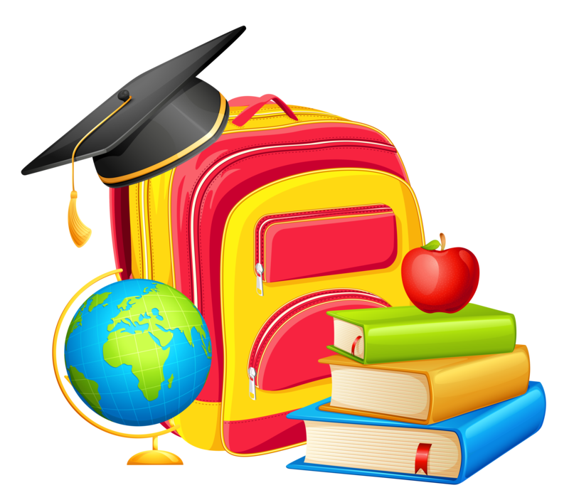 A yellow and red backpack with a graduation cap on top, a globe next to the backpack, and 3 books in front of the backpack with an apple on top