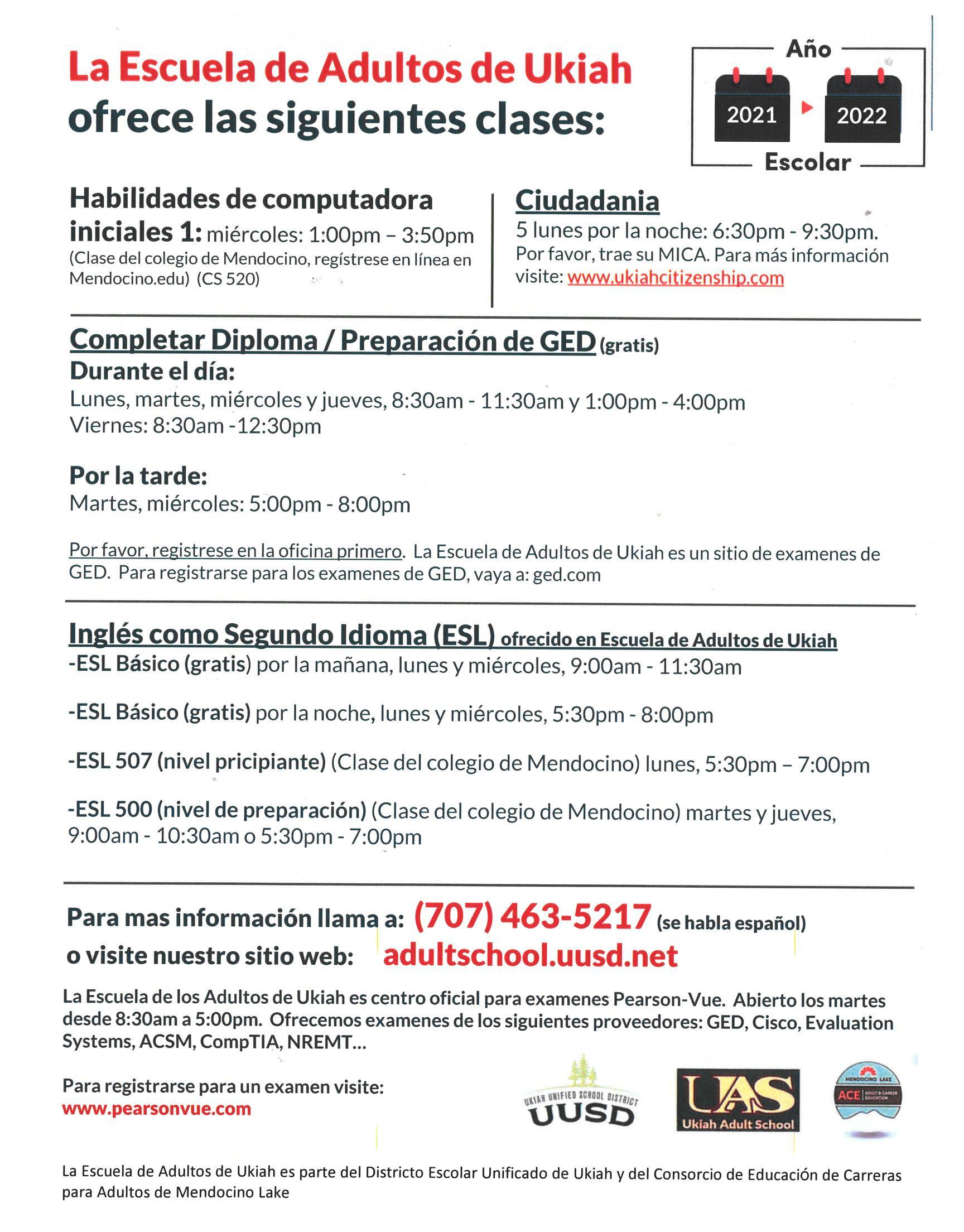 Spanish version of the Fall 2021 UAS Class schedule poster