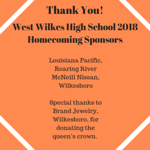 Louisiana Pacific, Roaring River McNeill Nissan, Wilkesboro  Special thanks to Brand Jewelry, Wilkesboro, for donating the queen's crown.