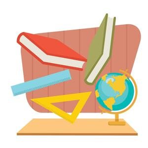 Animated image of books and globe