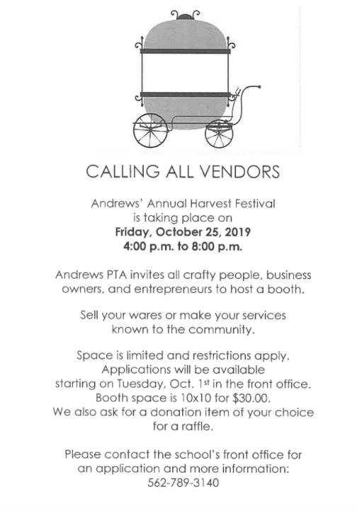 Flyer Calling All Vendors for Harvest Festival