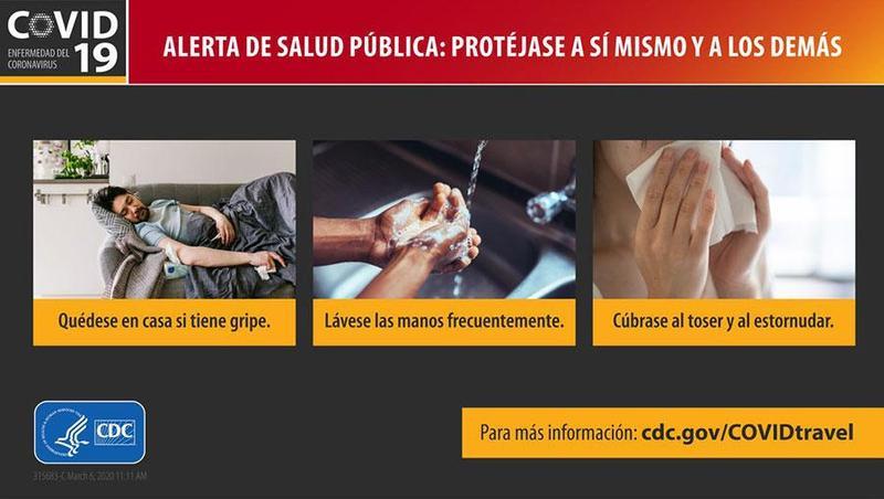 CDC Alerta de saluda pública: Protéjase a sí mismo y a los demás