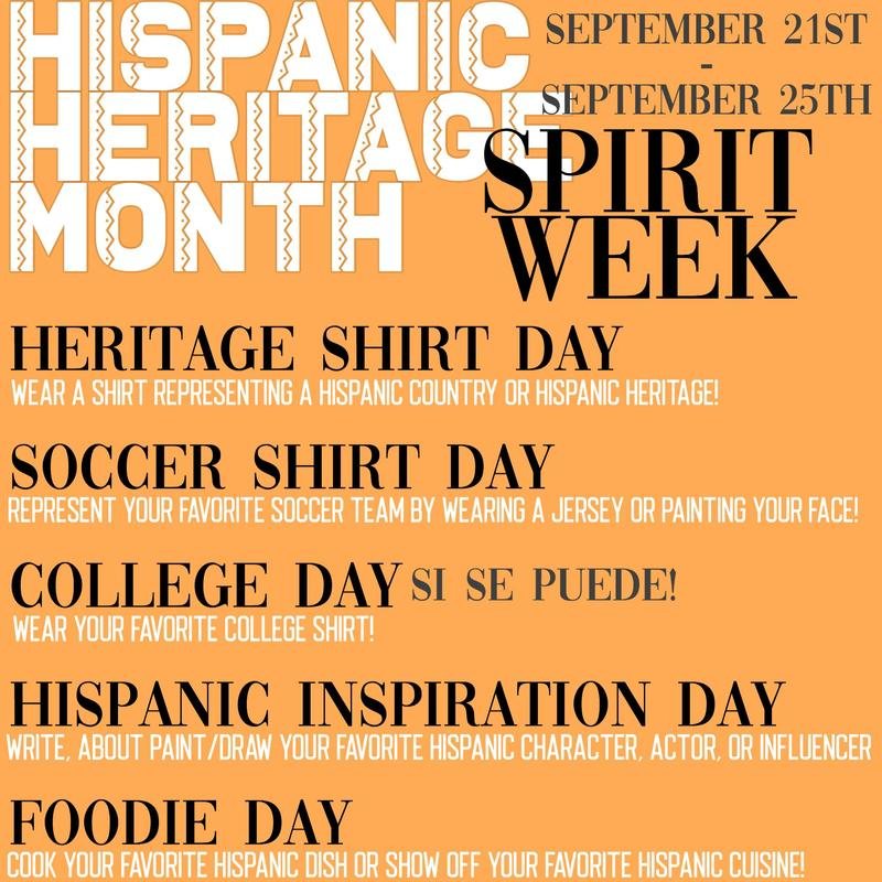 Hispanic Heritage Month Spirit Week