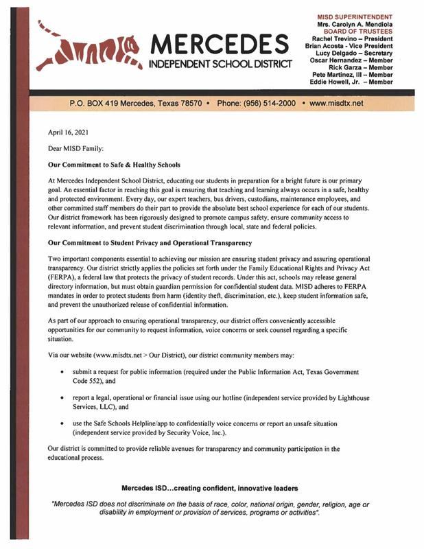 Letter from the Superintendent of Schools | April 16, 2021 Featured Photo