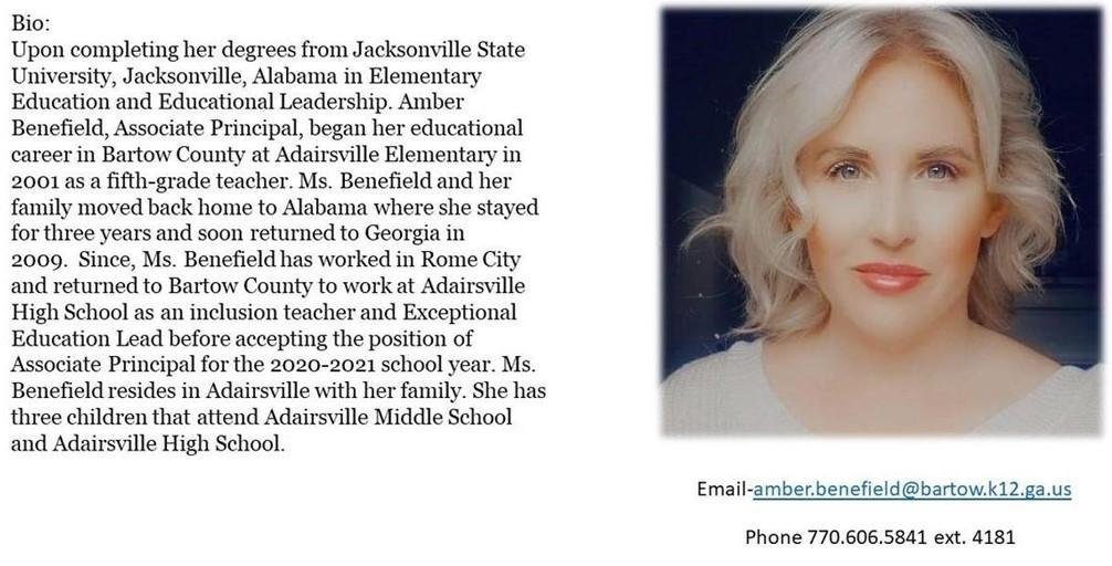 Amber Benefield bio and pic
